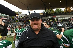 TRIBUNE FILE PHOTO: JAIME VALDEZ - After the surprise successes of 2015, 'Barney Ball' under Bruce Barnum is getting ready for 2016, with the Portland State football coach working on ways to continue strengthening the program.