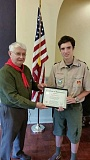 SUBMITTED PHOTO - Mary's Woods resident Alan Wells happily thanks Eagle Scout AJ Valentine.