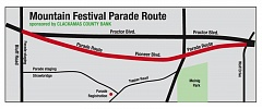 This map shows the route for the 2016 Sandy Mountain Festival Parade, scheduled for 7 p.m. Thursday, July 7, in downtown Sandy.