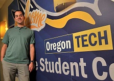 SPOKESMAN PHOTO: VERN UYETAKE - Michael Gerkensmeyer was hired by Logistics Insight Corporation in the week leading up to Oregon Tech's graduation ceremony June 12.