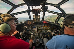 OUTLOOK PHOTO: JOSH KULLA - The view from the cockpit of the B-24 Liberator 'Witchcraft' as it flies over the Columbia River Gorge Wednesday, June 22, as part of the Collings Foundation's Wings of Freedom summer tour.