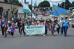 PHOTO COURTESY OF JOHN BREWINGTON - A contingent of Girl Scouts makes its way down Columbia Boulevard during the annual St. Helens Kiwanis Day Parade on Saturday, June 18.