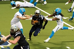 TRIBUNE PHOTO: CHRISTOPHER OERTELL - Shaine Boyle of the Portland Steel cuts through the Philadelphia Soul kickoff team on his way to a toucdown return Monday night at Moda Center.
