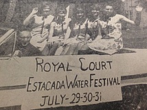 ARCHIVE PHOTO - In 1966, the Estacada Water Festival Princesses took a break from campaigning for Festival Queen to take a photo with Mayor David Horner to help publicize the upcoming event.