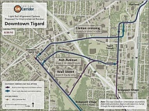 MAP COURTESY OF THE CITY OF TIGARD - Planners for the Southwest Corridor transit project have not yet identified exact route alignments for the proposed MAX light rail line. They are studying several possible alignments that would serve downtown Tigard.