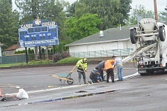 HERALD PHOTO: COREY BUCHANAN - Construction for the new track at Canby High School has begun. The project could be completed by mid-July.