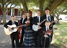 PHOTO COURTESY OF THE DOUCETTES - The Doucettes, from Houston, Texas, play in two bluegrass gospel concerts this weekend at Pioneer Park. Pictured, left to right: Harlen, Hayden, Hannah, Hudsen, Holten and (front) Hansen Doucette.