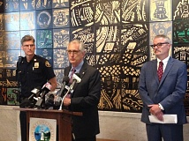 NICK BUDNICK - Mayor Charlie Hales on Monday named a new police chief, Mike Marshman (left). At right is Oregon U.S. Attorney Billy Williams.