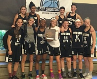 SUBMITTED - Oregon City Black players pose proudly with their first place trophy from the End Of The Trail Shootout, held June 24-26 in Oregon City. Pictured are: (front, left to right) Emily Fortin, Kaari Guelsdorf, NDea Flye, Kylie Guelsdorf, Jessica Tolke, Brooke Bullock and Riley Schedler; and (back) Allie Edwards, Cierra Jones, Kalissa Fries and Whitnie Warren.