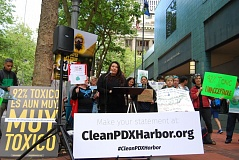 PHOTO BY ELI MANGOLD, COURTESY OF GROUNDWORK PORTLAND  - Rose Longoria, regional Superfund cleanup projects coordinator of Yakama Nation Fisheries, addresses a recent rally in front of the Portland Building, calling on the EPA to adopt a more aggressive plan to clean up the Portland Harbor Superfund site.