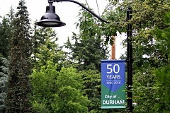 TIMES PHOTO: MILES VANCE - Banners attached to some of the streetlights along Southwest Upper Boones Ferry Road in Durham celebrate its 50th anniversary of incorporation.