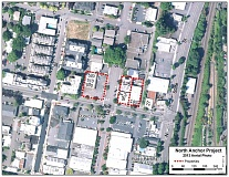 SUBMITTED PHOTO - Areas marked by dotted lines are already owned by the Lake Oswego Redevelopment Agency. The properties directly to the right of those areas - 504 N. State St. and 27 B Ave. - would be added to the project if LORA approves the purchase as expected.