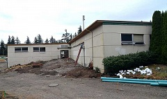 TIDINGS PHOTO: ANDREW KILSTROM - Construction at West Linn High School's 700 building is underway, and the exterior is hoped to be finished by the time school reconvenes in September.