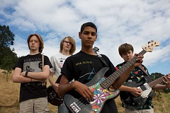 SUBMITTED PHOTO - From left, Bryce Cumpston, Beck Cheevers, Gabe Armattoe and Rory Cheevers pose with their instruments.