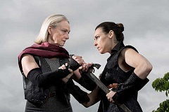 COURTESY PHOTO - Maryanne Glazebrook and Cassie Greer star as Volumnia and Coriolanus in Bag & Baggages all-female production of Coriolanus, which will play until July 23 at the Tom Hughes Civic Center Plaza.