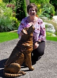 Artist Heather Soderberg and her bronze sculpture, Driscoll, a tribute to trainers and canines with Guide Dogs for the Blind