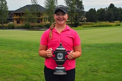 PHOTO COURTESY OF OGA - Victoria Gailey, a Tigard High School junior-to-be, holds the trophy she earned by winning the 2016 Oregon Junior Stroke Play Championship girls golf tournament. Gailey will be playing in two more prestegious tournaments this month.