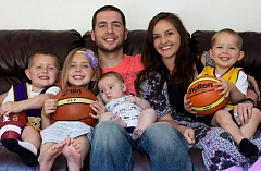CONTRIBUTED PHOTO - Scott OGallagher and his wife of nine years Kristen pile onto the couch with their four children Brooklyn, Scott Jr., Jalen and Jacoby. The family resides in the Bay Area.