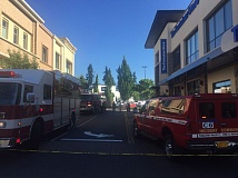PHOTO COURTESY OF TUALATIN VALLEY FIRE & RESCUE - Firefighters and a hazmat team were dispatched to Bridgeport Village Thursday evening after an employee at a laser eye surgery clinic was reportedly exposed to harmful gases.