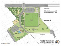 COURTESY TUALATIN HILLS PARK & RECREATION DISTRICT - The Tualatin Hills Park & Recreation District's conceptual plan has changed over the seven years the park's redevelopment has been in the planning stages. Construction is scheduled to begin in about two years, adding a signalized entrance from Cedar Hills Boulevard and new or improved amenities including an all-season artificial sports field, a splash pad, picnic facilities, bocci and sand volleyball courts and other features. Neighborhood reaction to the plan is somewhat mixed, but the new plan has met with more positive feedback than earlier versions.