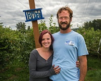 OUTLOOK PHOTO: JOSH KULLA - Kara and Gabriel Rice, owners of the four-acre U-pick Powder Blueberry Farm, in Gresham.