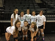 SUBMITTED PHOTO - Wilsonville volleyball players pose for a photo at the University of Oregon camp.