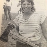 ARCHIVE PHOTO - Through her support of fellow competitors, Bonnie Miller became the first woman to win the Timber Festival's sportsmanship trophy in 1986.