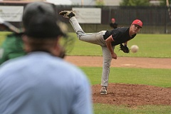 THE OUTLOOK: DAVID BALL - Cody Anderson fires a pitch during Advanced Metals 11-7 win over Rex Putnam on Saturday.