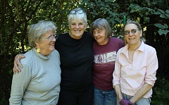 CONNECTION PHOTO: KELSEY O'HALLORAN - The ladies of The Garden Club, Anne Bagwell (from left), Cathy Chisholm, Kathryn Leech and Dell Goldsmith, meet weekly to work in each other's yards.