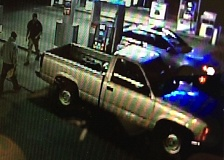 PHOTO COURESTY OF THE ST. HELENS POLICE DEPARTMENT - The St. Helens Police Department is looking for information about the driver of this 1990s model Chevrolet pickup truck. The driver of the truck is accused of firing a handgun at the driver of another vehicle in St. Helens on Saturday, July 16 following a verbal altercation at a gas station.