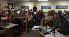 JASON CHANEY - A crowd fills the Crook County Court Annex as the Natural Resource Plan is discussed.