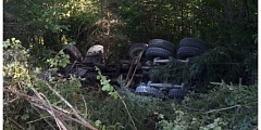 WCSO - A 51-year-old Molalla man died Thursday when the cement truck he was driving rolled into a ditch on Laurelwood Road in Washiington County.