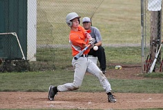JIM BESEDA/MOLALLA PIONEER - Molalla catcher Casey Brooks drew a walk and popped out to second in his two plate appearances during Friday's 12-2 loss to Stayton.