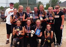 SUBMITTED PHOTO - Members of the Tigard Crush team that won the NAFA title include (back row, from left)coach Brody vanderSommen, Sofia Tosoni, Emily Milsted, Alexa vanderSommen, Dylan Porter, Laura Masters, Sophia Fenton, Coach Keri Gesner, (front row) Jessie Galster, Kristin Isenhart, Sophia vanderSommen and Eliot Miner. Not pictured, Kaeli Miller.