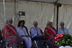 SPOTLIGHT PHOTO: COURTNEY VAUGHN - My Fair Lady contestants answer prepared questions during the 2016 pageant at the Columbia County Fair & Rodeo. Pictured left to right: Linda Kissinger, Claudia Oblack, Judy Thompson, Shirley Walker and Lillibell Welter.