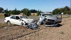 OREGON STATE POLICE PHOTO - Two people died in a head-on collision that was reported at 4:15 p.m. Thursday on Highway 213 near Scotts Mill.