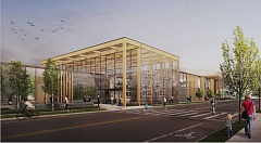 COURTESY PHOTO - Concept art of how the exterior of the community center may look, featuring a prominent lobby that will become the face of downtown.