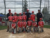 SUBMITTED - Clackamas Junior Americans pose proudly with their second place hardware from the 2016 Junior Baseball Junior American State Championship Tournament. Pictured are: (first row, left to right) Jake Brady, Max Kirsch, Sawyer Chalmers, Parker Harrison, Trent Ewry and Garrett Strube; (second row) Justin Redman, Jack Caswell, Aiden MacClanathan, Danner Standley and Tyler King; and (back) coach Brian Ewry, head coach Chris Caswell and coach John Kirsch.