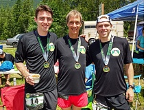 CONTRIBUTED PHOTO - The McAfees, from left, Ryan, Ralph and Tyler, gathered at the finish line after hitting qualifying times for the 2017 Boston Marathon at The Light at the end of the Tunnel race in Snoqualmie Pass, Wash., last month.