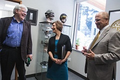 TIMES PHOTO: JONATHAN HOUSE - Abom Chief Executive Officer Jack Cornelius, left, and President David McCulloch talk about their business with Rep. Suzanne Bonamici during a visit of their Tigard business on Thursday.