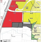 MAP COURTESY OF THE CITY OF TIGARD - A zoning map shows the area, in black, relative to the city of Tigard, shown in colors based on zoning (red for commercial, yellow for residential).