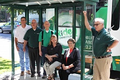 NEWS-TIMES PHOTO: RYAN LACKEY - (Left to right) Rob Foster, Forest Groves public works director; Ron Thompson, city councilor; Bob Crosby, GroveLine driver; Debra Bratland, Ride Connection Director; Elaine Wells, Ride Connection Executive Director; and Mayor Pete Truax celebrate the opening of five new GroveLink bus shelters, which were funded by $71,000 from the citys transportation development tax.