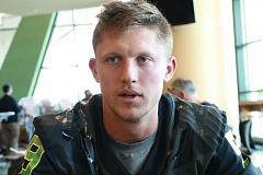 COURTESY: STEVE SUMMERS - Senior transfer quarterback Dakota Prukop talks about the Oregon Ducks, his approach to playing football and his arrival in Eugene, as football camp begins.