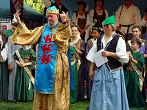 GAZETTE FILE PHOTO: RAY PITZ - Julian Thornton, shown here in his portrayal as King Richard during the 2009 Robin Hood Festival where his wife Alice, right, was knighted, passed away on Aug. 14. He was 76.