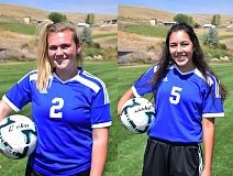 PHOTO CREDIT: BLUE MOUNTAIN COMMUNITY COLLEGE - Sophomore defender Allison Wedgworth, left, and freshman midfielder Addie Buchanan, right, respective 2015 and 2016 Scappoose High School graduates, are teammates in the brand new Blue Mountain Community College (Pendleton) women's soccer program.