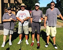 PHOTO CREDIT: MONTE GUSTAFSON - Shankapotamus - from left, Bob Grams, Bob Fancher, Gary Wight and David Wight - beat Pacific Athletic Club 5.5-2.5 in the eight-point St. Helens Men's Club championship round on Tuesday at Wildwood Golf Course in Portland.