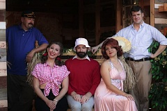 COURTESY: LUCY HOBBS - The Funhouse Lounge's actors portray the castaways from 'Gilligan's Island' in a shipwrecked setting from 'Lost' in the theater production 'Stranded.'