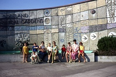 COURTESY PHOTO: ANNE BREEZE/OREGON ZOO - In a photo from 1968, a family sits in front of Willard Martin's mosaic 'The Continuity of Life Forms,' which has been reinstalled at the Oregon Zoo's new education center.