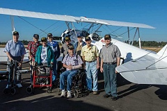 Vital Life, a Marquis and Consonus foundation, coordinated with the nonprofit Ageless Aviation to arrange the event and select the veterans: (Front, L-R): Elizabeth Betty Wedell, Ed Rosenfield, Larmie Flowers, Richard Clemence, (Back, L-R) Neill Martin, John Bogen, Ray Lindsey, Joe Rolison, Robert Cloos.
