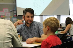 SPOKESMAN PHOTO: ANDREW KILSTROM - West Linn-Wilsonville teachers flocked to the district office last week for cutting-edge professional development.